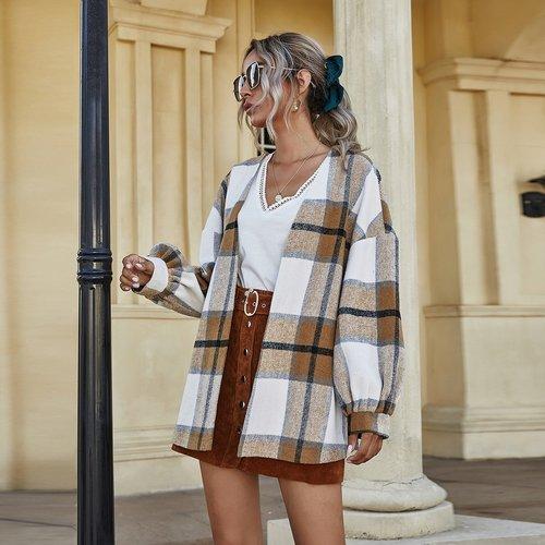 Manteau oversize à carreaux avec manches bouffantes - SHEIN - Modalova