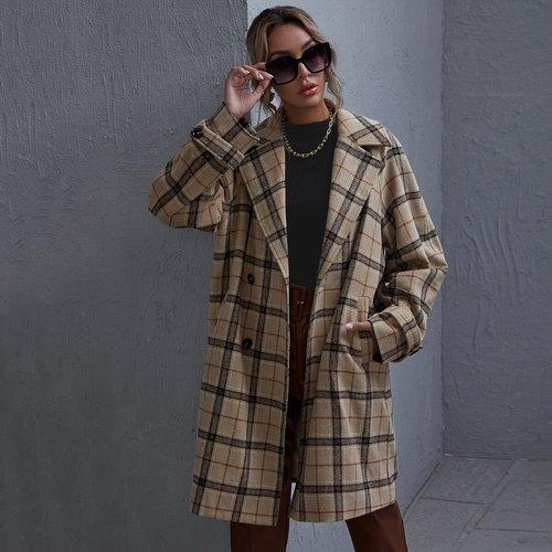 Manteau à carreaux avec poche - SHEIN - Modalova
