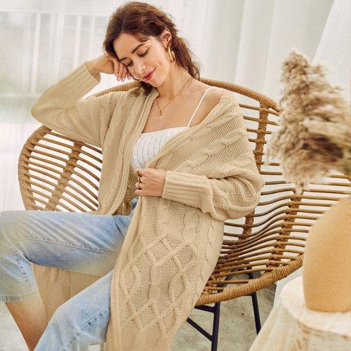 Gilet en tricot torsadé - SHEIN - Modalova