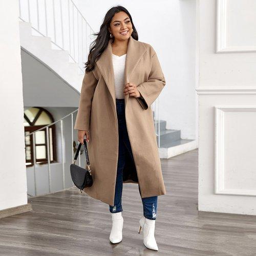 Manteau col châle unicolore - SHEIN - Modalova