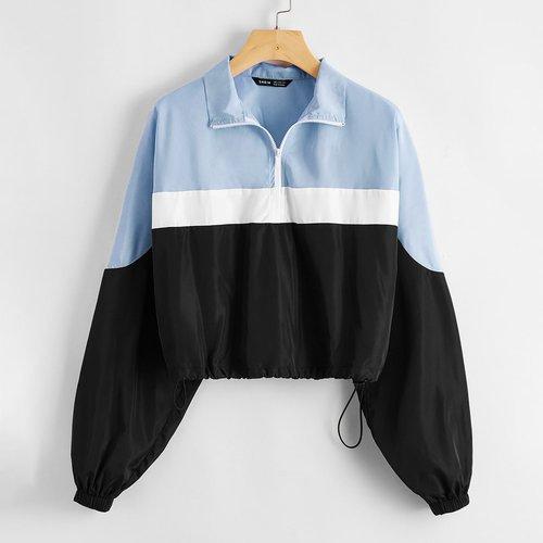 Veste courte zippée avec blocs de couleurs - SHEIN - Modalova