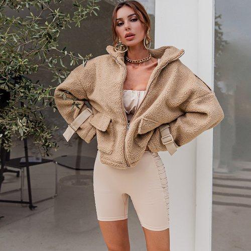 Manteau oversize duveteux zippé - SHEIN - Modalova