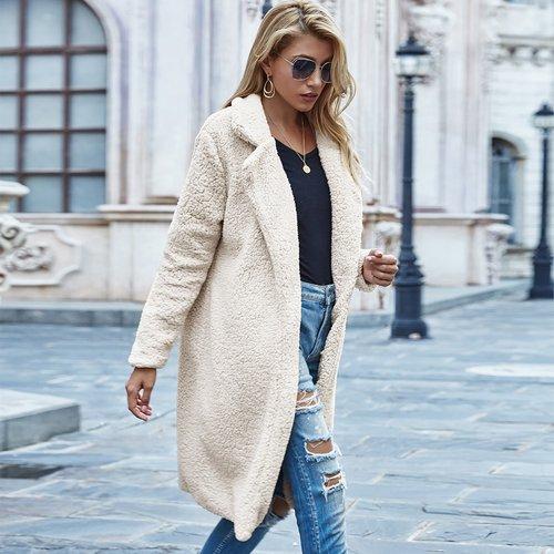 Manteau en tissu duveteux - SHEIN - Modalova