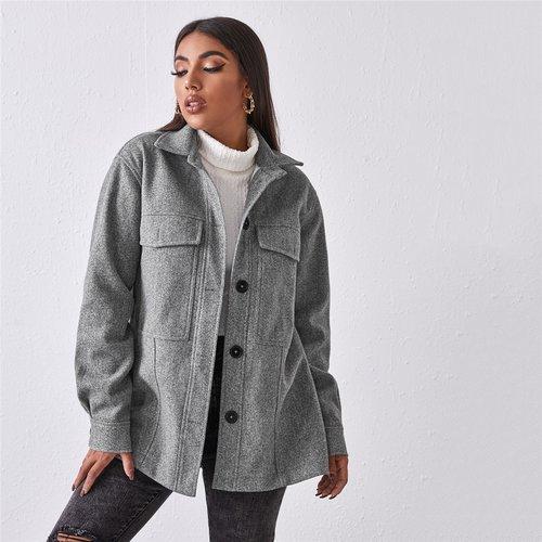 Manteau avec poches et boutons - SHEIN - Modalova