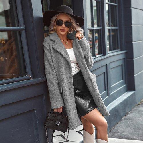 Manteau duveteux avec boutons - SHEIN - Modalova