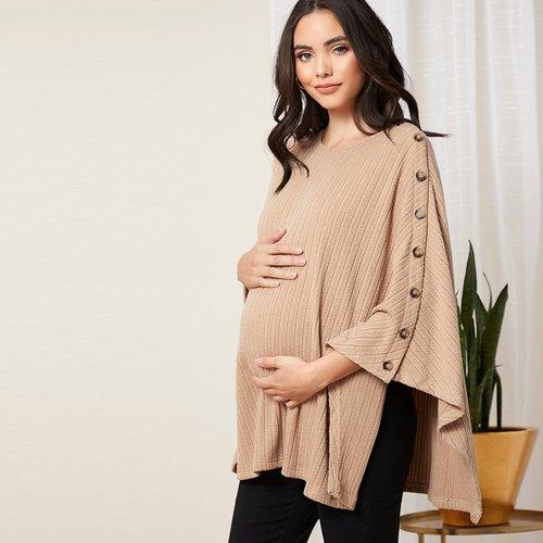 Manteau cape de grossesse en tricot côtelé avec boutons - SHEIN - Modalova