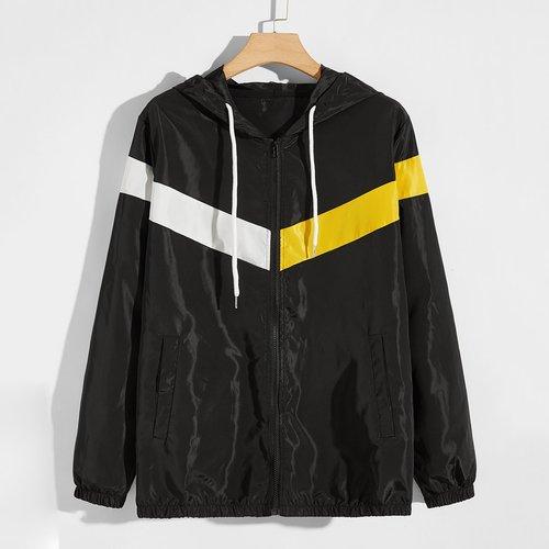 Veste à capuche coupe-vent avec blocs de couleur et cordon - SHEIN - Modalova