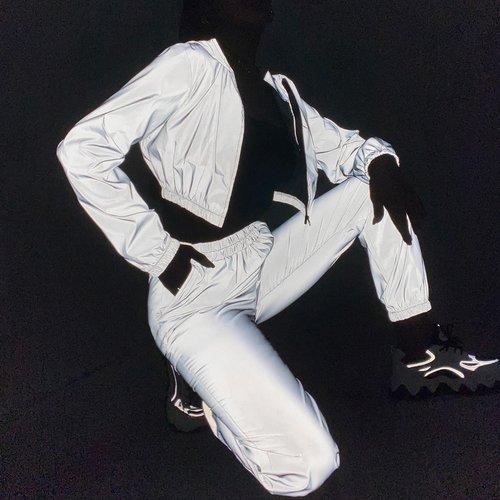 Ensemble pantalon et veste courte réfléchissante avec zip - SHEIN - Modalova