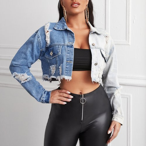 Veste en jean courte déchirée - SHEIN - Modalova