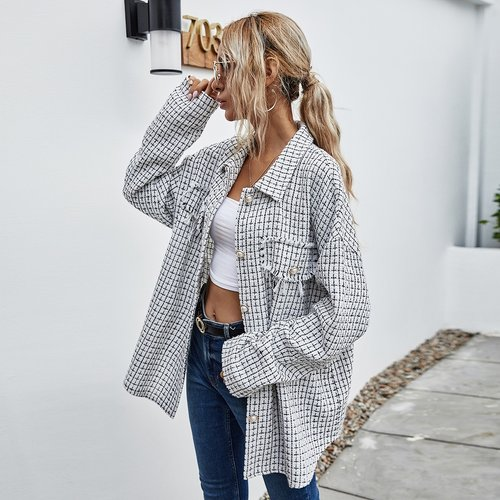 Manteau en tweed à carreaux avec boutons - SHEIN - Modalova