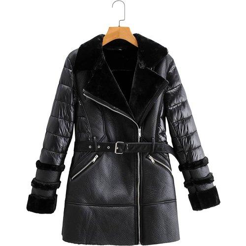 Manteau en cuir PU ceinturé matelassé avec fourrure synthétique - SHEIN - Modalova
