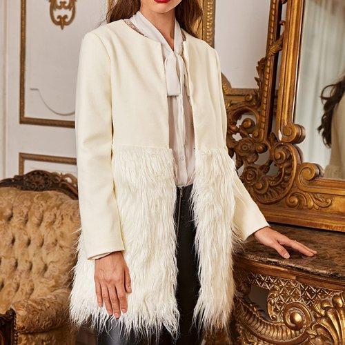 Manteau avec pièce en fourrure synthétique - SHEIN - Modalova