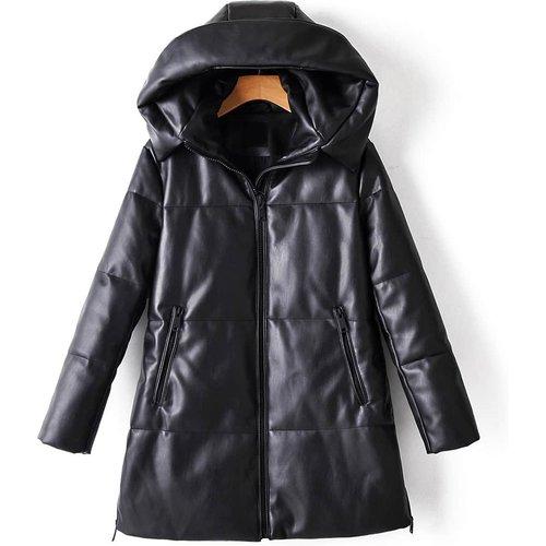 Manteau doudoune en cuir PU avec zip - SHEIN - Modalova
