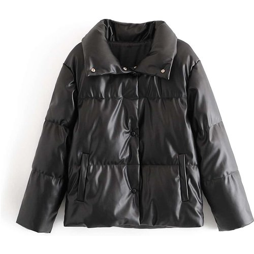 Manteau doudoune en cuir PU avec boutons - SHEIN - Modalova