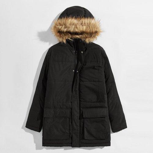 Manteau doudoune à capuche avec fourrure synthétique - SHEIN - Modalova