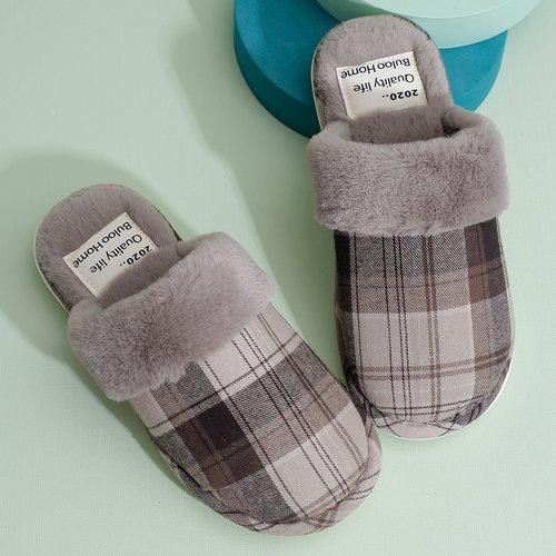Pantoufles en tissu duveteux à carreaux - SHEIN - Modalova