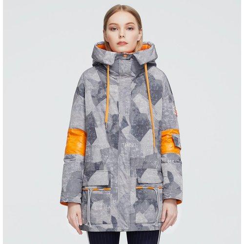 Manteau doudoune à capuche avec cordon et blocs de couleur - SHEIN - Modalova