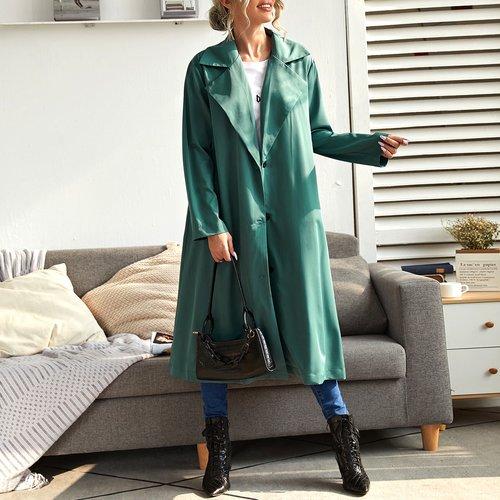 Manteau unicolore avec poche - SHEIN - Modalova