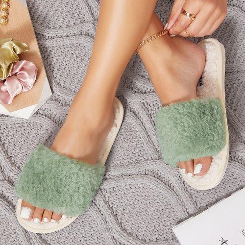 Pantoufles duveteuses avec fourrure synthétique - SHEIN - Modalova