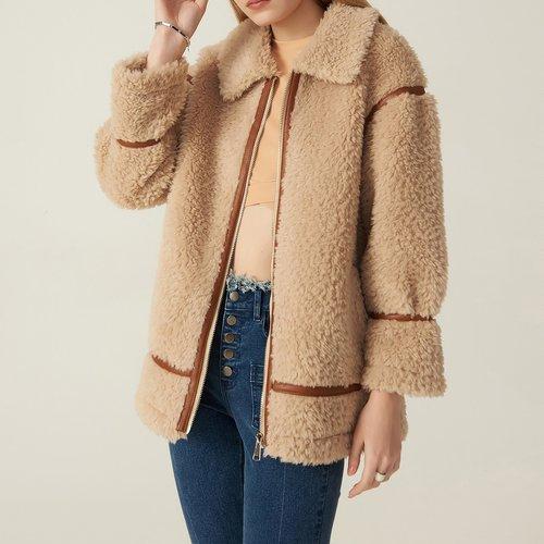 Manteau en mélange de laine avec similicuir - SHEIN - Modalova