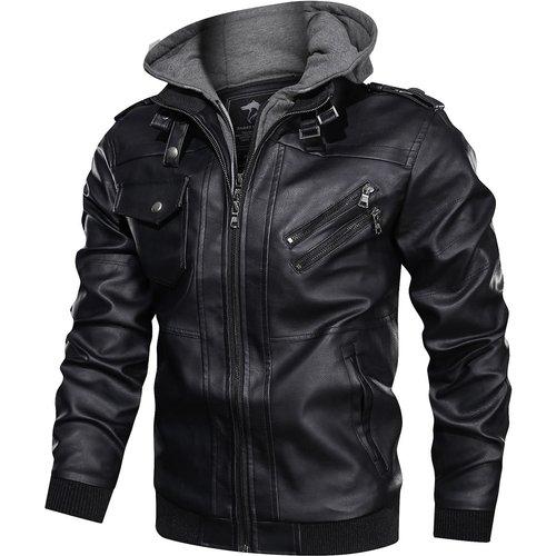 Veste à capuche en cuir PU avec poche - SHEIN - Modalova