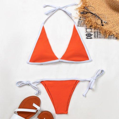 Bikini côtelé avec liseré contrastant - SHEIN - Modalova