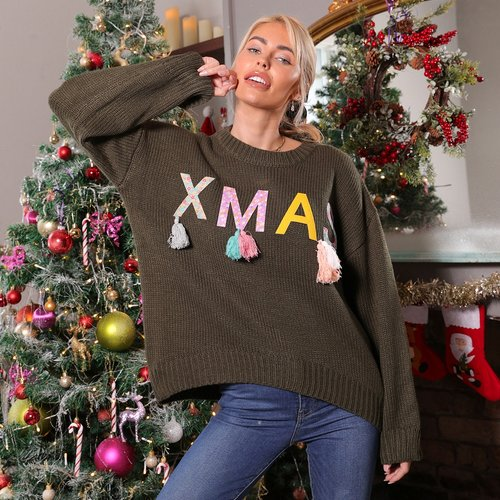 Veste avec franges et lettres de Noël - SHEIN - Modalova