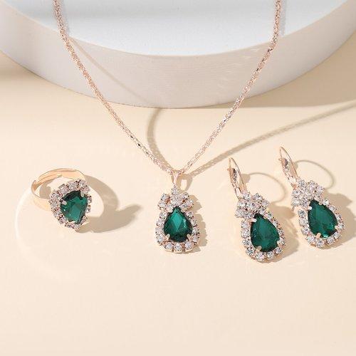 Collier avec pendentif gemme & Boucles d'oreilles & Bague - SHEIN - Modalova