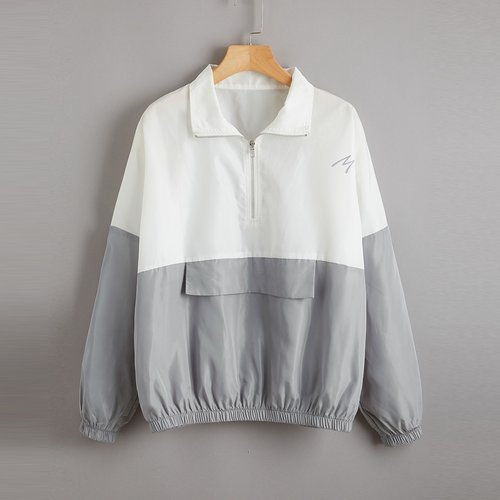 Veste bicolore zippée - SHEIN - Modalova