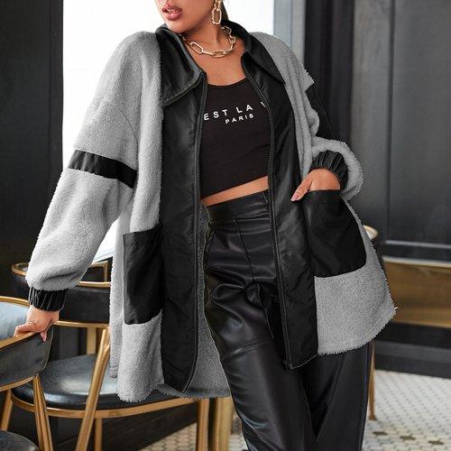 Manteau zippé en tissu duveteux - SHEIN - Modalova