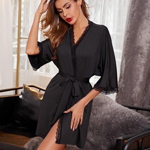 Robe de chambre de nuit ceinturée avec dentelle - SHEIN - Modalova
