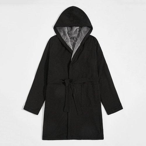 Robe de chambre à capuche ceinturée avec doublure en flanelle - SHEIN - Modalova