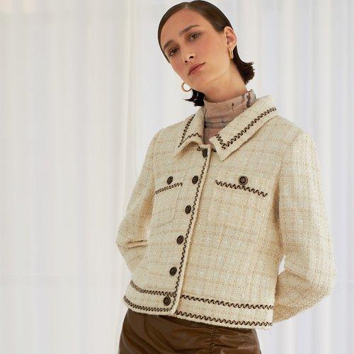 Veste en tweed brillante avec poche - SHEIN - Modalova