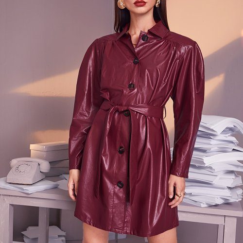 Robe en cuir PU avec ceinture - SHEIN - Modalova