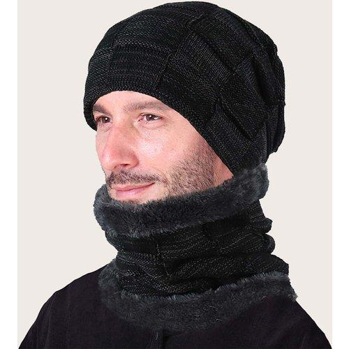 Homme Bonnet en tricot & Écharpe - SHEIN - Modalova