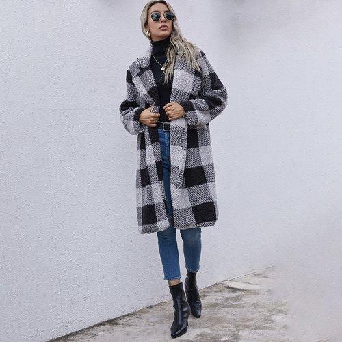 Manteau duveteux à carreaux - SHEIN - Modalova