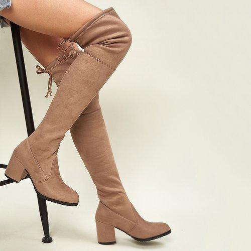 Bottes chaussettes à talons épais avec nœud - SHEIN - Modalova