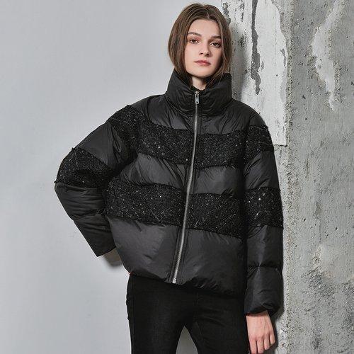 Manteau doudoune oversize avec pièces à sequins - SHEIN - Modalova