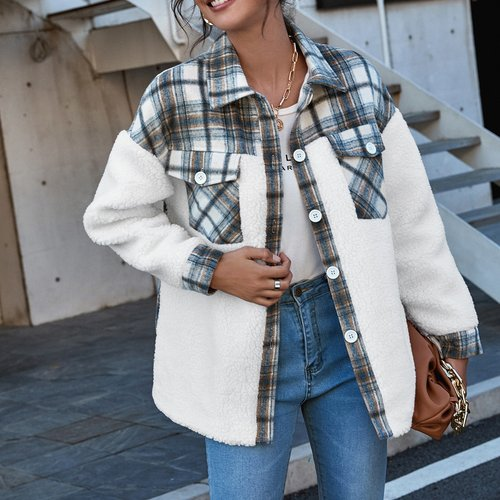 Manteau en tissu duveteux à carreaux - SHEIN - Modalova
