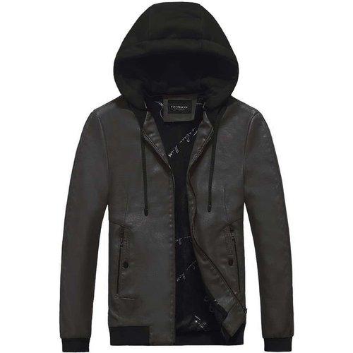 Veste à capuche en cuir PU avec zip et cordon - SHEIN - Modalova