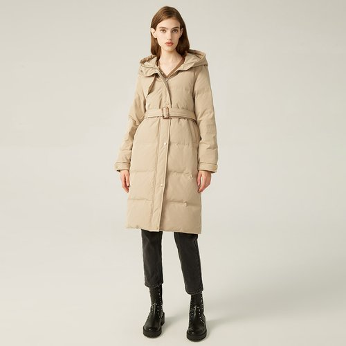 Manteau doudoune longue avec ceinture - SHEIN - Modalova