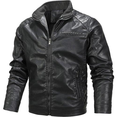 Veste zippée en cuir PU avec poche - SHEIN - Modalova
