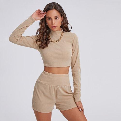 T-shirt court côtelé & Short - SHEIN - Modalova
