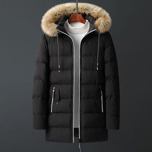 Manteau doudoune avec zip et fourrure synthétique - SHEIN - Modalova