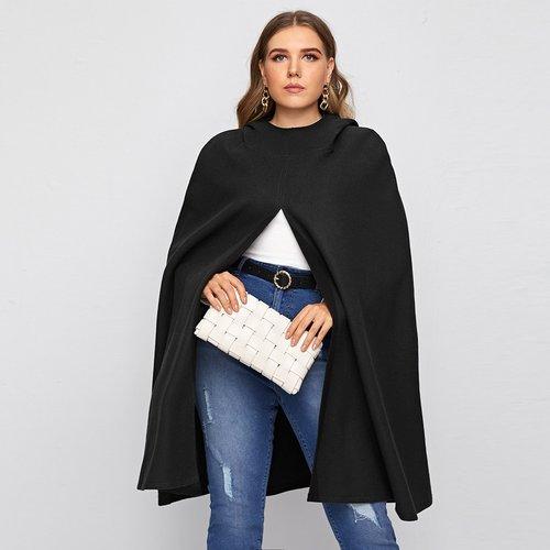 Manteau cape à capuche unicolore - SHEIN - Modalova