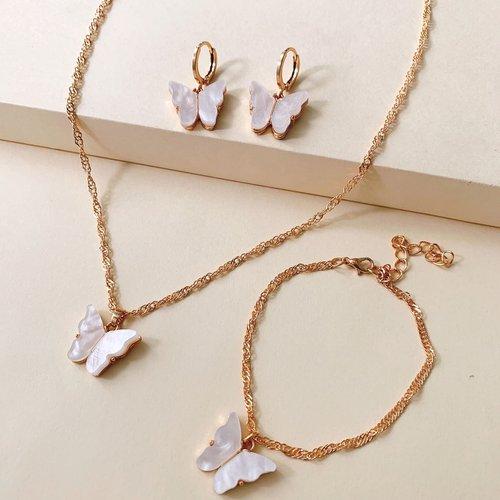 Collier avec pendentif papillon & Bracelet & Boucles d'oreilles - SHEIN - Modalova