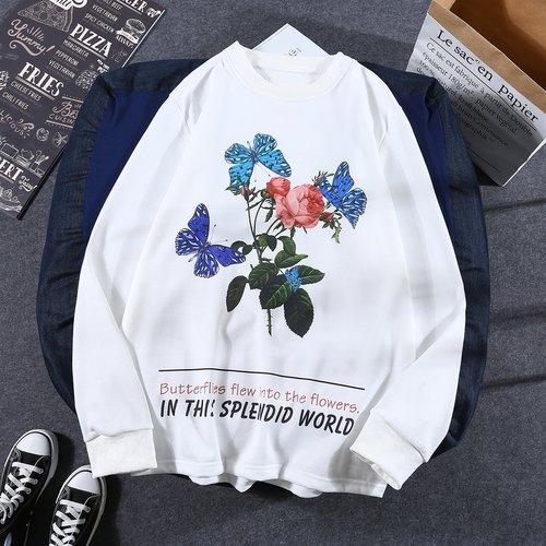 Sweat-shirt fleuri - SHEIN - Modalova
