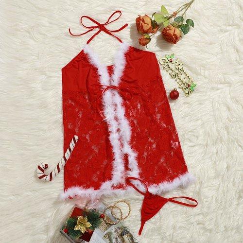 Robe avec fourrure synthétique et dentelle de Noël & String - SHEIN - Modalova