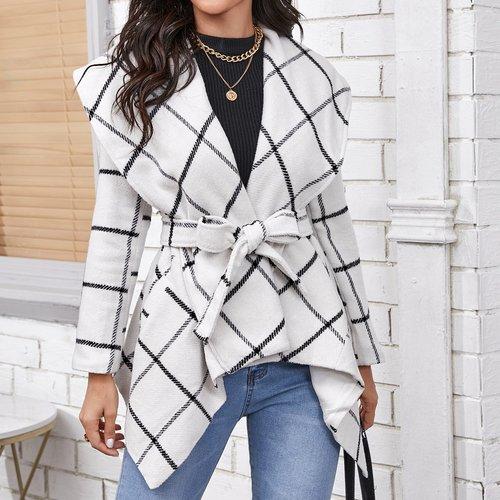 Manteau col cascade à carreaux avec ceinture - SHEIN - Modalova