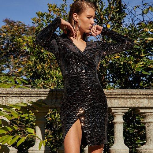 Robe portefeuille brillante - SHEIN - Modalova